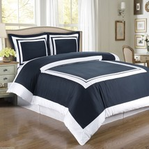 Hotel Navy Blue and White Cotton Duvet Cover Bedding Set by Royal Tradition - $75.99+