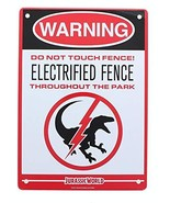 Jurassic World Electrified Raptor Fence Tin Litho Warning Sign LootCrate March 2 - $9.40