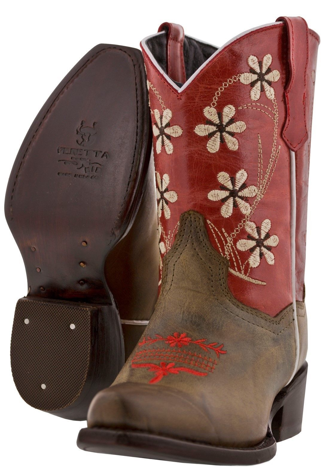 Girls Red Flower Embroidered Cowgirl Plain Leather Boots Kids Snip Toe