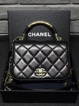 100% Auth Chanel Black Quilted Leather Top Handle Flap Bag GHW