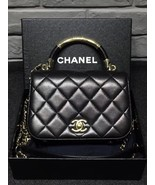 100% Auth Chanel Black Quilted Leather Top Handle Flap Bag GHW - $3,899.99