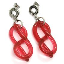 Earrings Antica Murrina Venezia, Hanging, Infinity Knot Red, Murano, 5.5 CM image 1