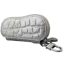 Geniune Leather Key Bag Key Chain Case Car Key Holder(Silver)