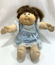 Vtg 1986 Cabbage Patch Kids Girl Doll Cornsilk Brown Hair w/Outfit Dress #8 HM - $14.84