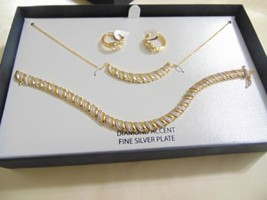 Macy's Diamond Accent 18k Gold Sterling Silver Plated Necklace Set C501 ... - $1.298,74 MXN