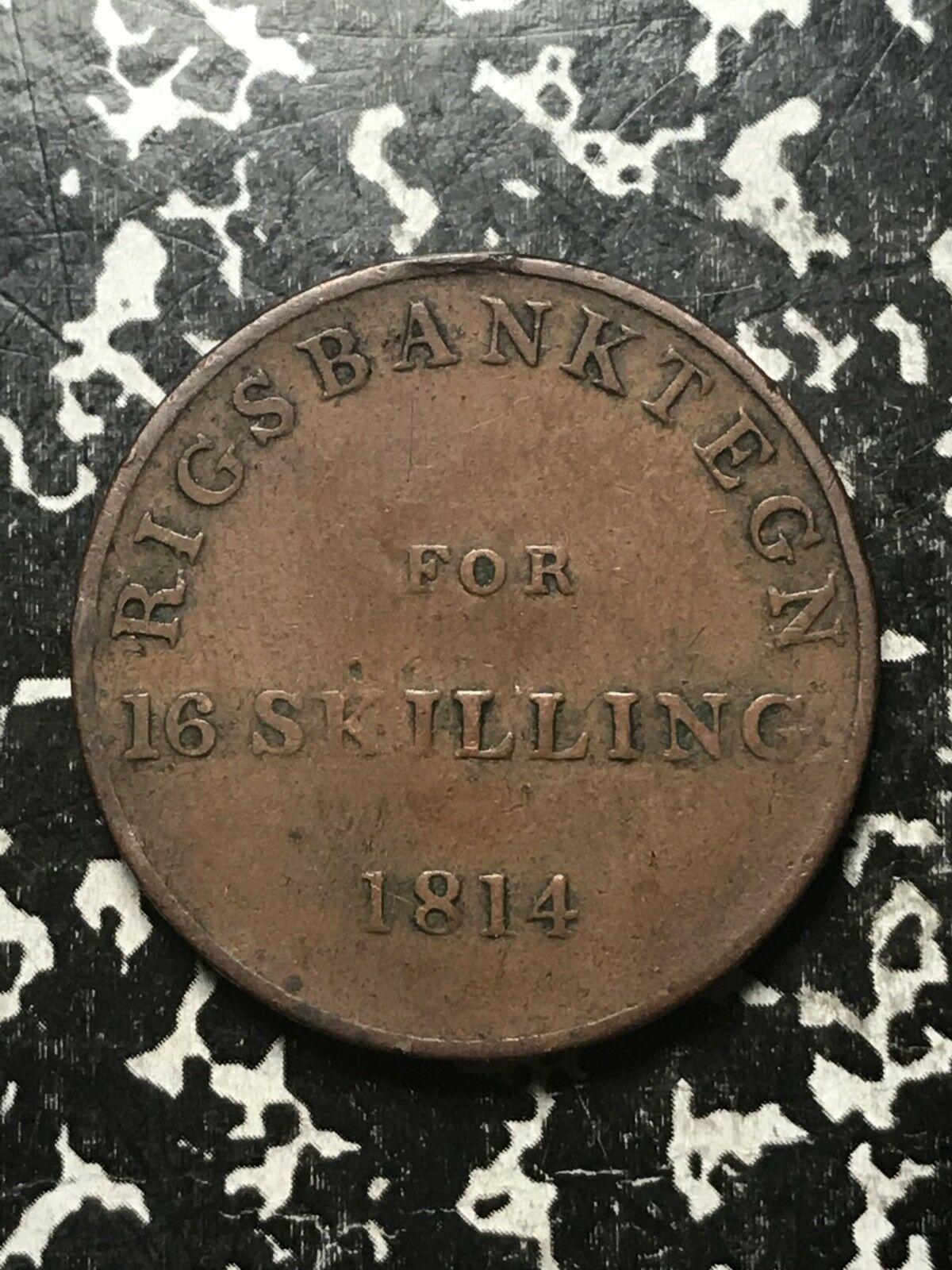 1814 Danimarca 16 Skilling Lotto # 0868 km #Tn3
