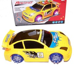 YELLOW BATTERY OPERATED BUMP AND GO RACE CAR light up racing toy flashin... - $8.98