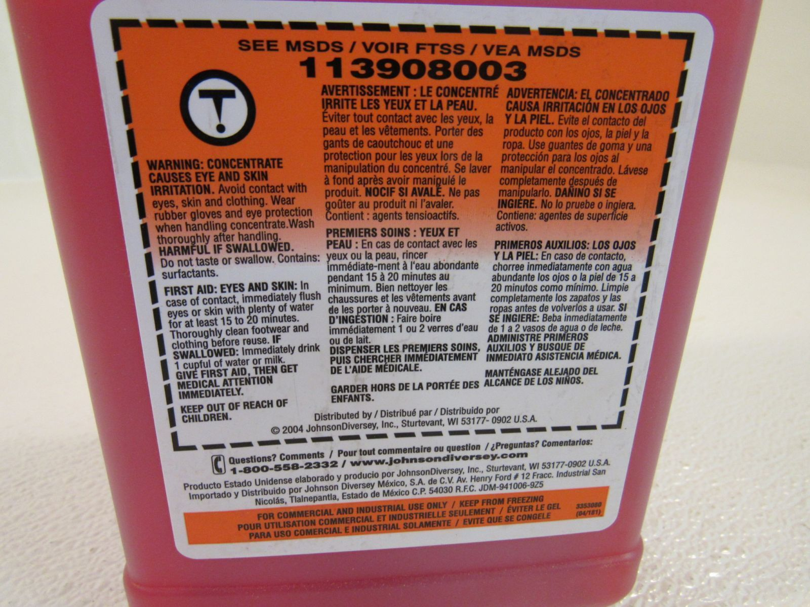Johnson Stride HC Neutral Cleaner Red 2.5 Liters 2.64 US Qt 04716