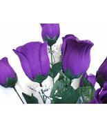 """Rose Bud Bush Artificial Silk Flowers 20"""" Bouquet Purple Color Tktvle - $22.77"""