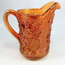 Luster Rose Marigold Carnival Glass Miniature Pitcher by Imperial Amber - $28.04