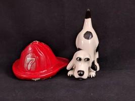 Vtg Fireman Helmet & Dalmatian Bobble Head Figurine Dog Puppy Porcelain ... - $9.28