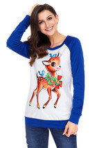 Reindeer and Birds Blue Long Sleeve Christmas Shirt  - $22.71