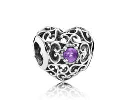 AUTHENTIC PANDORA CHARM  FEBRUARY SIGNATURE HEART AMETHYST 791784SAM - $34.99