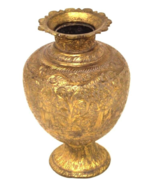 Hand Forged India Brass Metal Gold Urn Vase Ornate Hindu Goddess Etched ... - £41.11 GBP