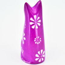 Vaneal Group Hand Carved Kisii Soapstone Fuchsia Sitting Kitty Cat Figure image 3