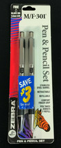 Vtg Zebra M/F 301 Stainless Steel Mechanical Pencil and Ballpoint Pen Se... - $18.38
