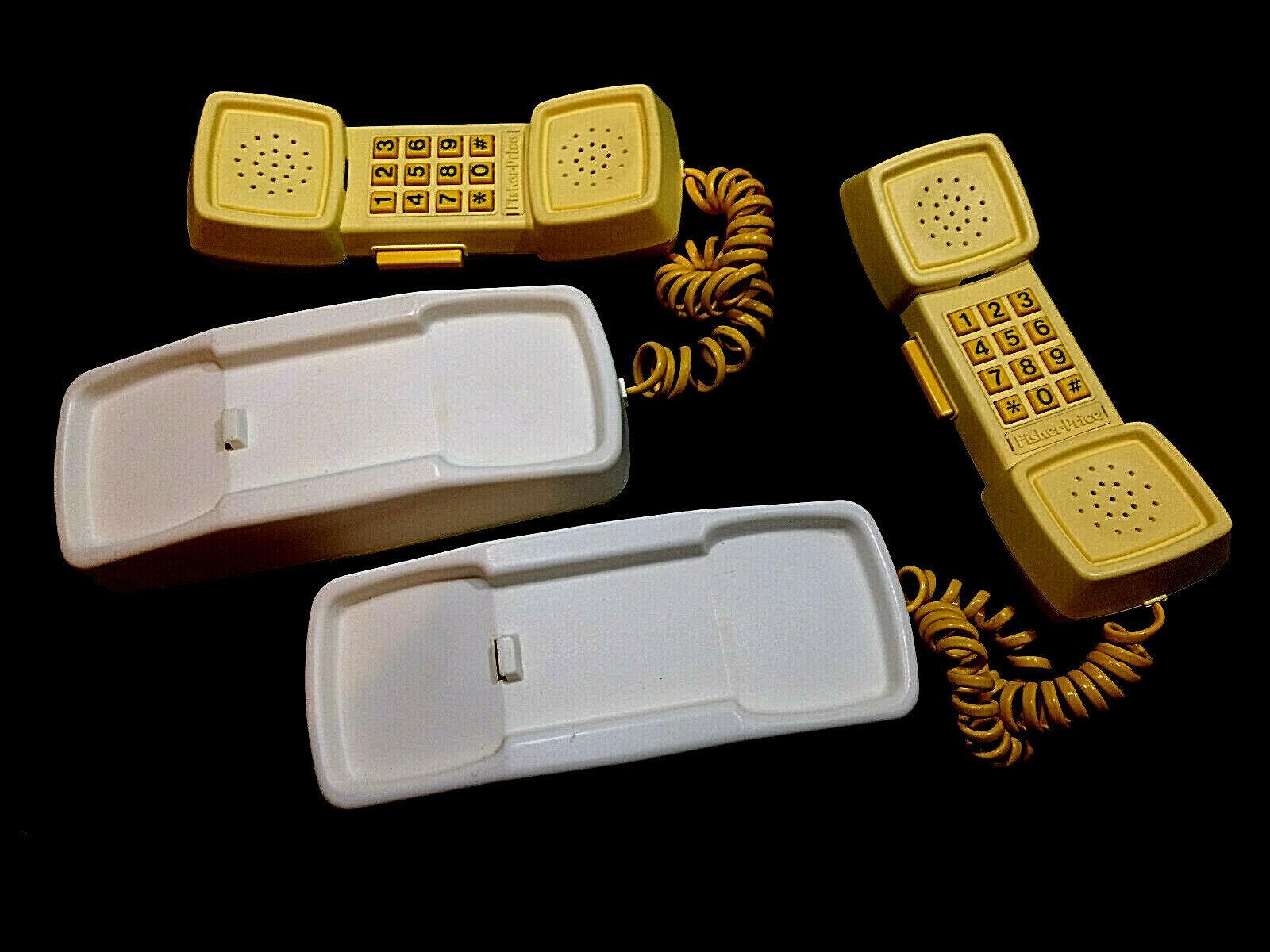 FISHER PRICE VINTAGE PHONE FRIENDS WALKIE TALKIE PLAY PHONES Set of 2 Very Nice