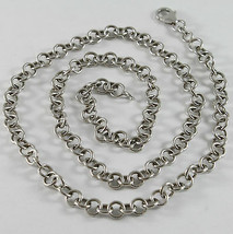 SOLID 18K WHITE GOLD CHAIN, NECKLACE, WITH ROUND LINK, CIRCLE, MADE IN I... - $1,060.00