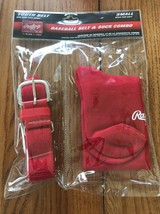 New Rawlings Youth Red Baseball Belt And Sock Combo Pack Size Small Ship... - $17.62