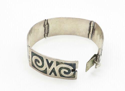 AMD MEXICO 925 Silver - Vintage Jasper Swirl Pattern Chain Bracelet - B6302 image 4