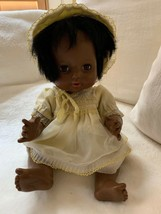"Vintage Baby black Doll African American 16"" Yellow Dress hat bonnet 198... - $59.39"
