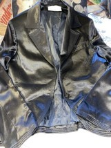 ALBERT NIPON EVENING Cool Black Onyx  Satin Jacket Size XS - $21.78