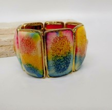 Vintage Red Yellow Blue Faceted Acrylic Panel Stretch Bangle Bracelet FF32 - $19.79
