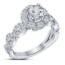 Infinity Style Womens Diamond Engagement Ring 14k White Gold Finish 925 ... - £62.93 GBP