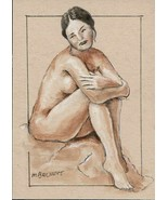ACEO Original Painting Figure Study woman female nude pose drawing model - $16.00