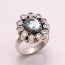 HANDMADE NATURAL AQUAMARINE 7*10 MM OVAL  925 STERLING SILVER  7 RING - £33.32 GBP
