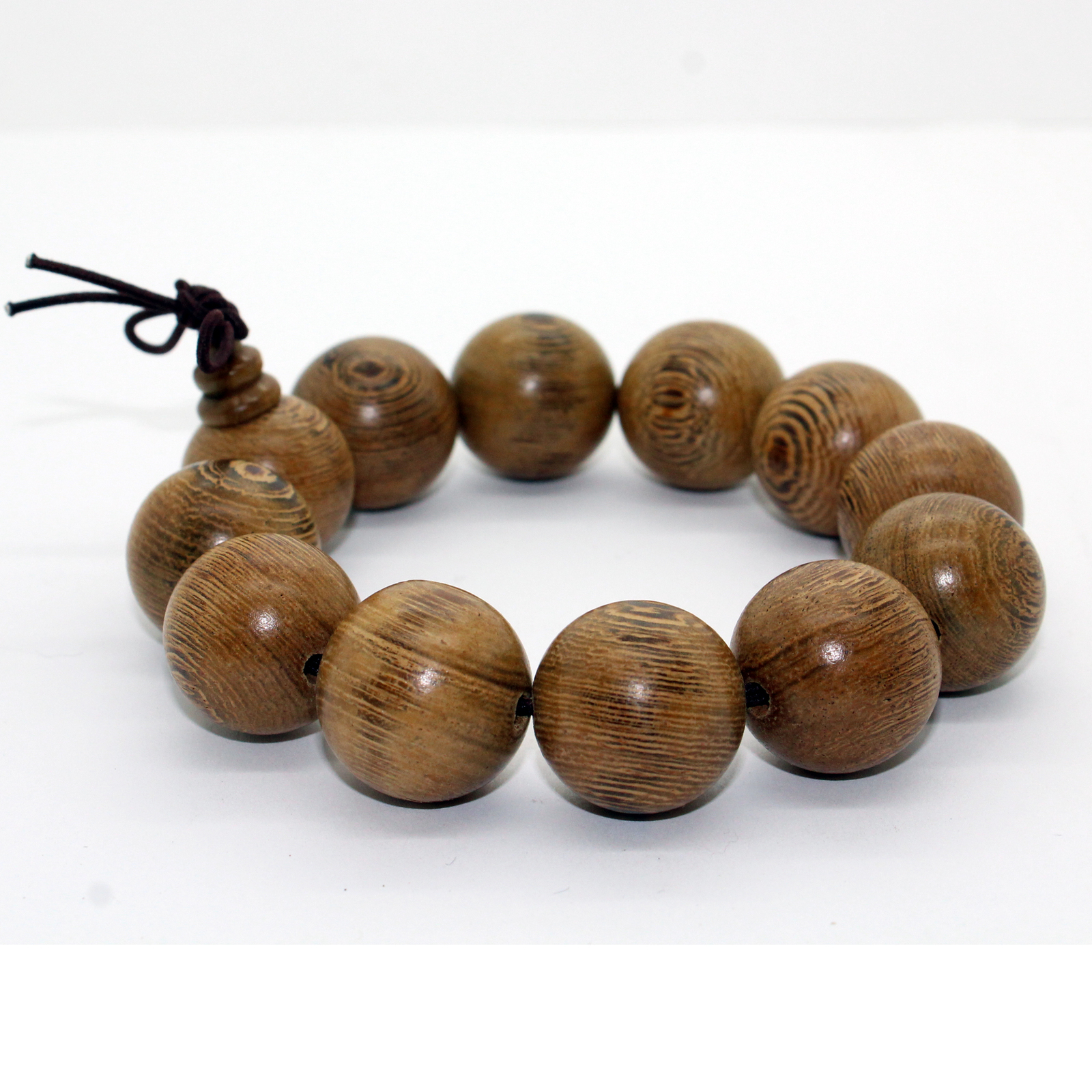 Jichimu Wood Light Brown Beads Hand Rosary Praying Bracelet ws228