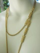 "Monet Necklace 54"" Chain MID-CENTURY Mod Vintage Modernist Open Work Bar Charms - $18.99"