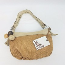 FOSSIL WHAT VINTAGE ARE YOU STRAW & LEATHER HANDBAG HOBO STRAW - $52.46