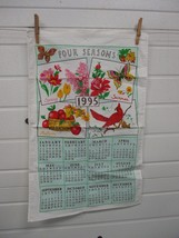 Vintage 1995 Cloth Cotton Tea Towel Hanging Calendar Four Seasons - $9.99