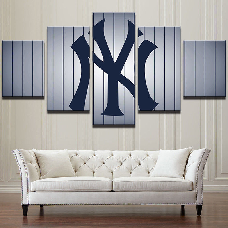 New York Yankees Home Decor: Large Framed New York Yankees Baseball Canvas Wall Art