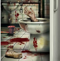 CSI Bloody Horror CREEPY CRAPPER BATHROOM DOOR COVER Psycho Halloween De... - $5.20