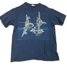 Vintage 1980s Blackbird F-14 Tomcat Graphic Tee T-Shirt 1986 Jet Fighter... - $39.55