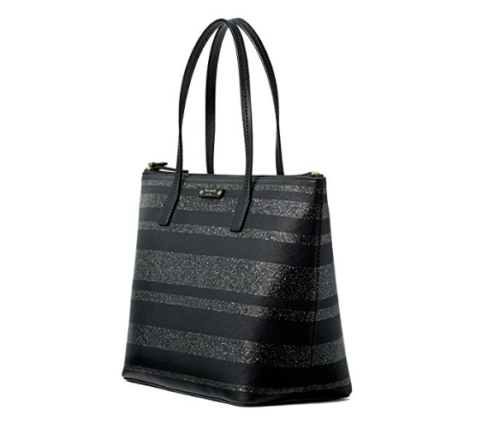 Kate Spade Hani Haven Lane Black Glitter Strap Tote Bag WKRU4787 image 2