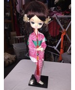 Asian Standing Doll On Wooden Platform Pink And Green Dress Figurine Statue - $14.34
