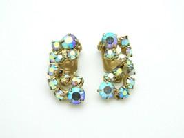 Pink Purple Aurora Borealis Rhinestone Gold Tone Clip On Vintage Earrings - $24.74