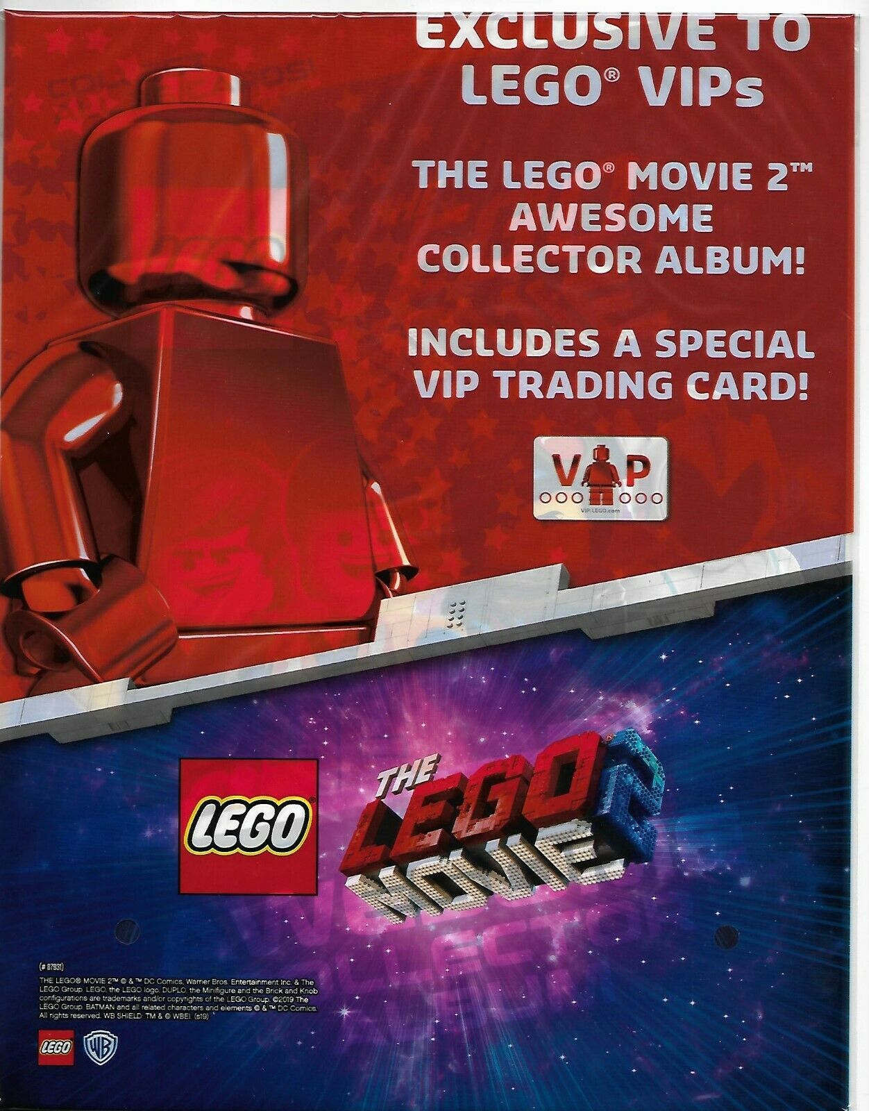 Lego Movie 2 VIP Collector Album Plus 3 Packs New Trading Cards