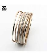 Bracelets For Women Metal Bar Charm Leather Trendy Boho Braided Rope Wid... - $10.58