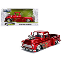 1955 Chevrolet Stepside Pickup Truck with Blower Candy Red with Flames J... - $41.63