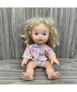 Vintage 1989 Hasbro Baby Uh Oh 13 Inch Drinks Wets Blonde Hair Blue Eyes - $24.99