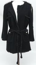 CHANEL Black Jacket Cardigan Sweater Pearls Belt Fringe Tweed 2014 Sz 38 - $2,717.00