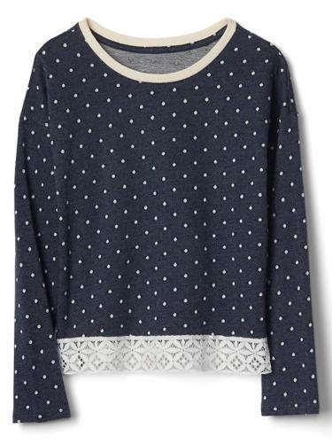Gap Kids Girls Top 14 16 Navy Blue Polka Dot French Terry Long Sleeve Lace Trim