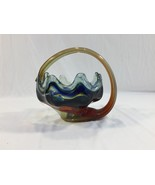 Vintage Art Glass Swan Style Bowl Dish Blue Yellow Brown Handle - $24.99