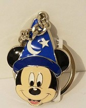 Disney Parks Sorcerer Mickey Mouse Face Keyring Metal Keychain - $17.81