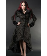Women's Charcoal Grey Brocade Gothic Victorian Fall Winter Long Steampun... - $169.31