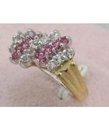 VINTAGE PINK crystal C. Z. 14K GP.COCKTAIL RING sz 6-8 - $16.64